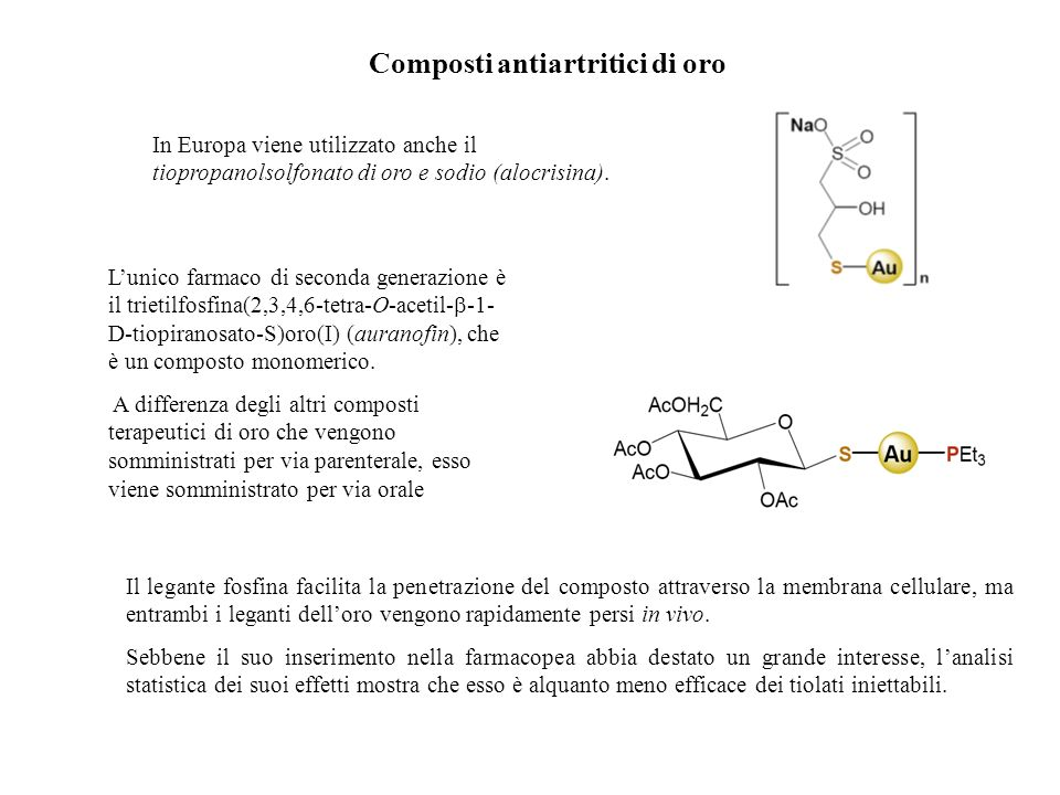 Composti antiartritici di oro