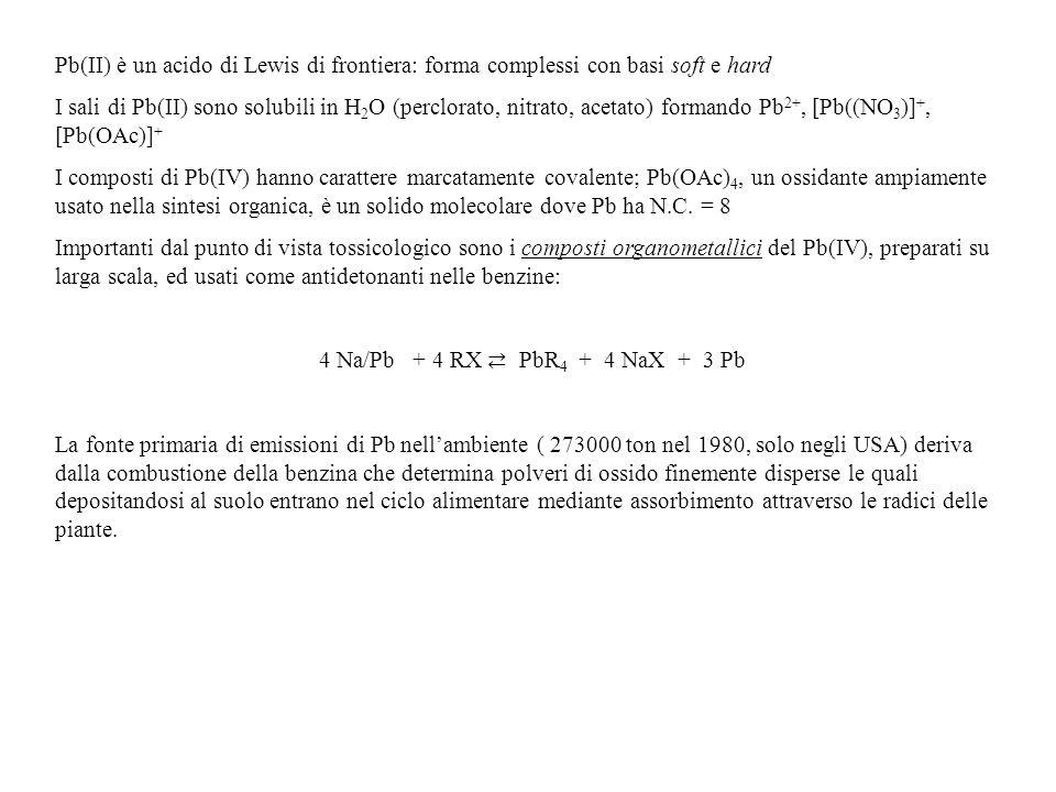 Pb(II) è un acido di Lewis di frontiera: forma complessi con basi soft e hard