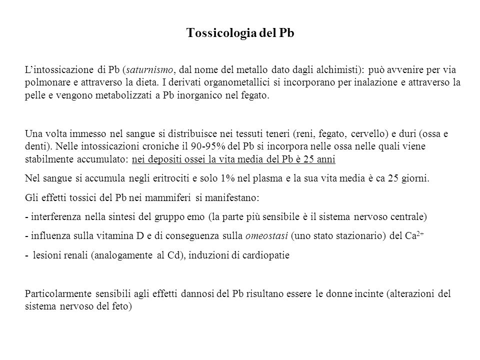 Tossicologia del Pb