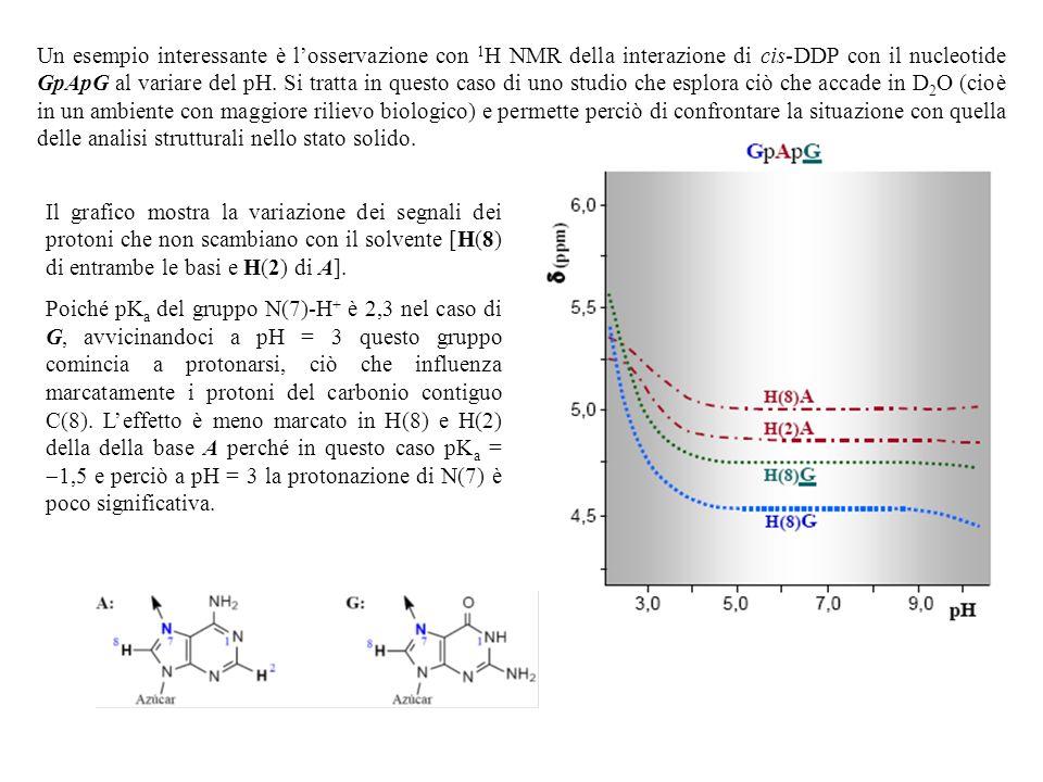 Un esempio interessante è l'osservazione con 1H NMR della interazione di cis-DDP con il nucleotide GpApG al variare del pH. Si tratta in questo caso di uno studio che esplora ciò che accade in D2O (cioè in un ambiente con maggiore rilievo biologico) e permette perciò di confrontare la situazione con quella delle analisi strutturali nello stato solido.
