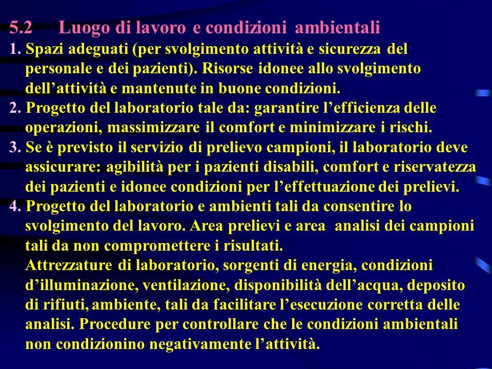 5.2 Luogo di lavoro e condizioni ambientali