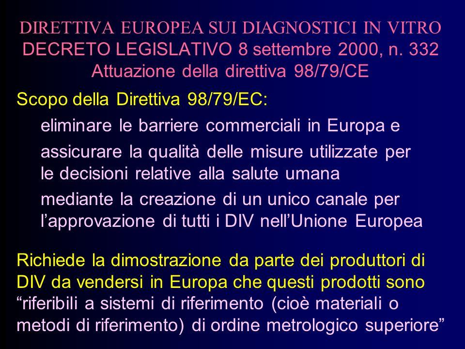 DIRETTIVA EUROPEA SUI DIAGNOSTICI IN VITRO DECRETO LEGISLATIVO 8 settembre 2000, n. 332 Attuazione della direttiva 98/79/CE