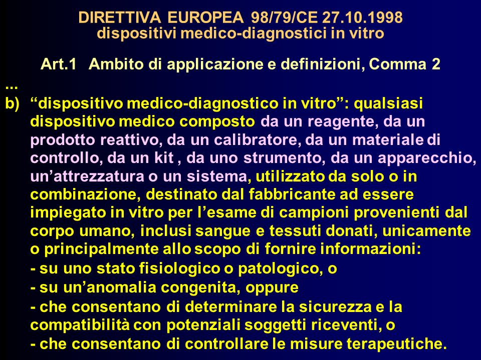DIRETTIVA EUROPEA 98/79/CE 27. 10