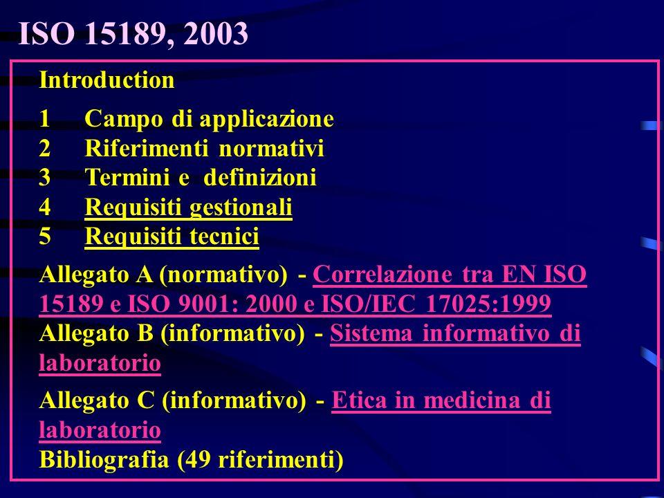 ISO 15189, 2003 Introduction 1 Campo di applicazione