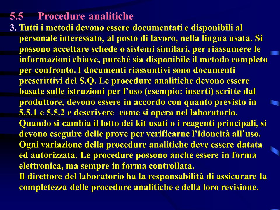 5.5 Procedure analitiche