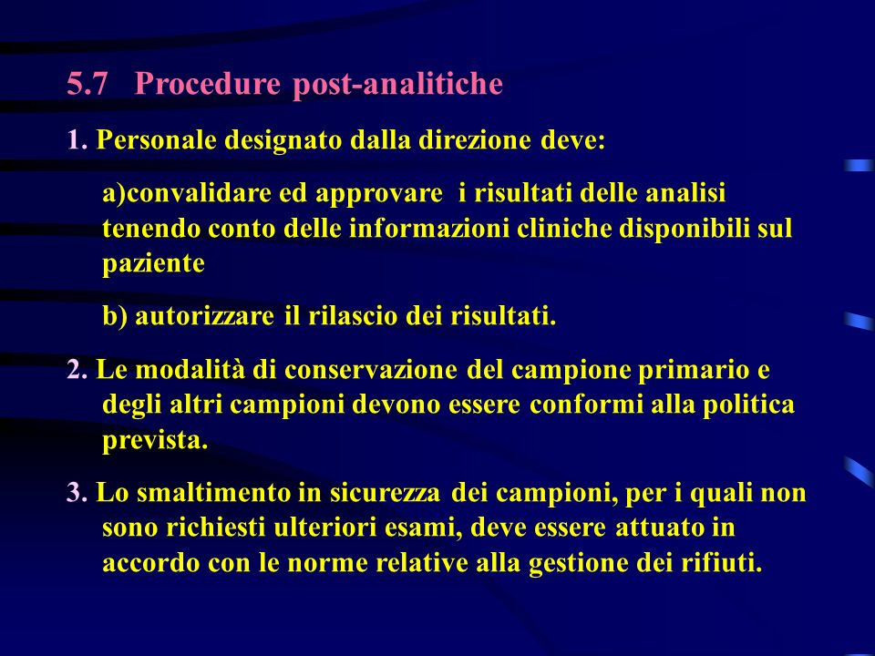 5.7 Procedure post-analitiche