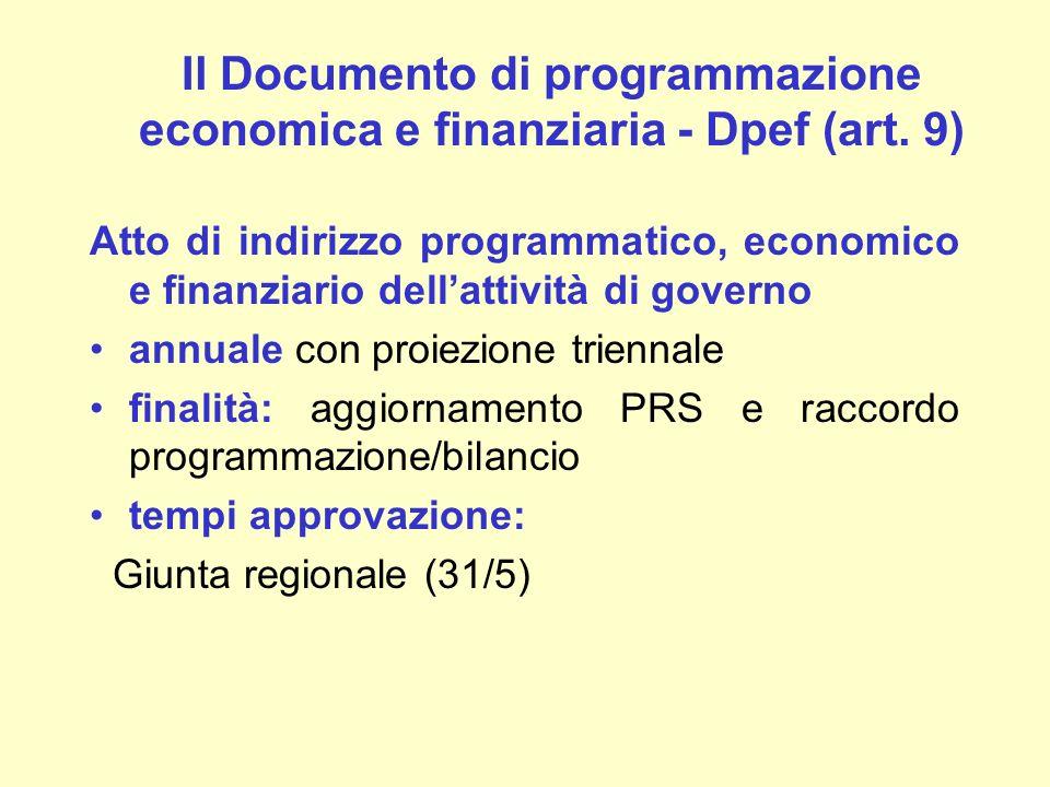 Il Documento di programmazione economica e finanziaria - Dpef (art. 9)