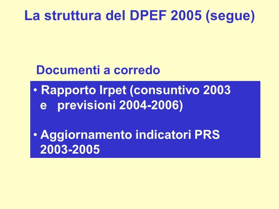 La struttura del DPEF 2005 (segue)