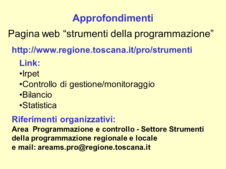 Pagina web strumenti della programmazione