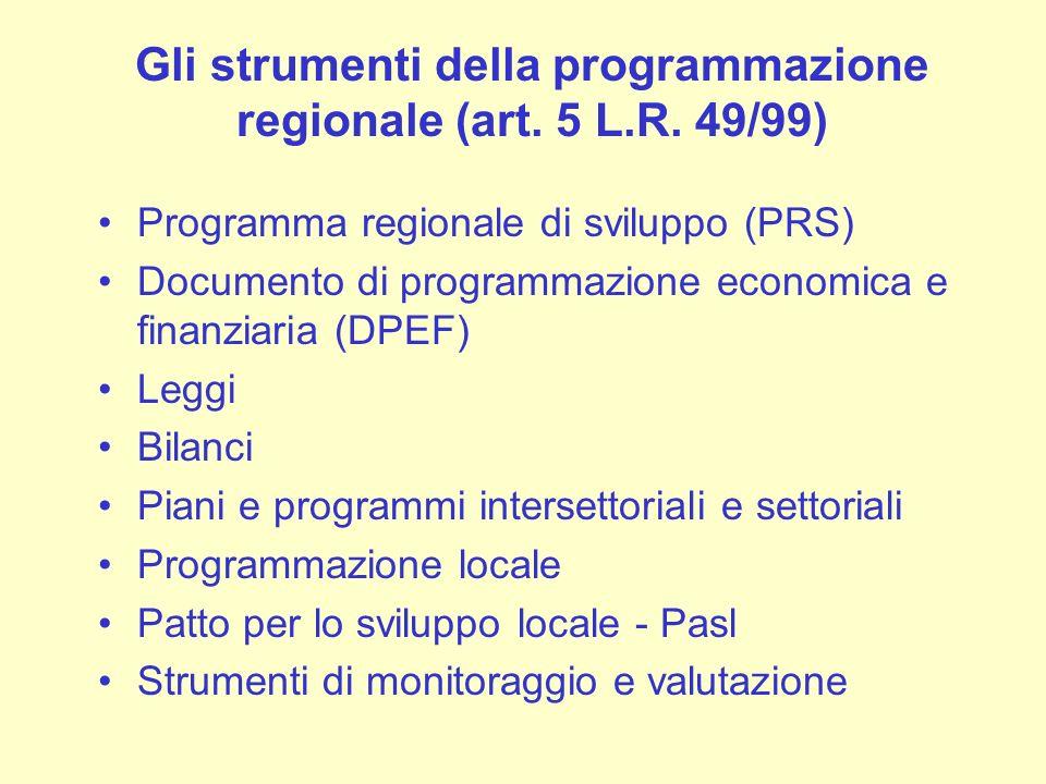 Gli strumenti della programmazione regionale (art. 5 L.R. 49/99)