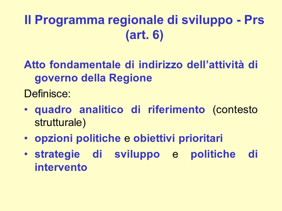 Il Programma regionale di sviluppo - Prs (art. 6)