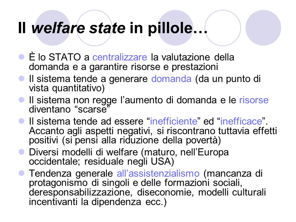 Il welfare state in pillole…