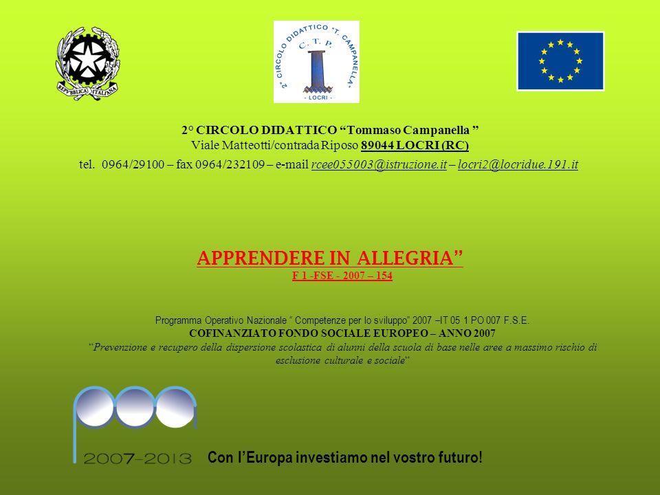 APPRENDERE IN ALLEGRIA F 1 -FSE - 2007 – 154