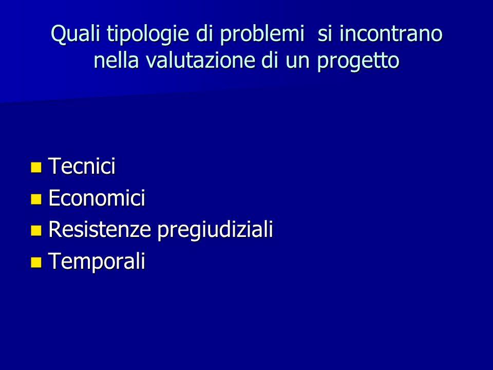 Quali tipologie di problemi si incontrano nella valutazione di un progetto