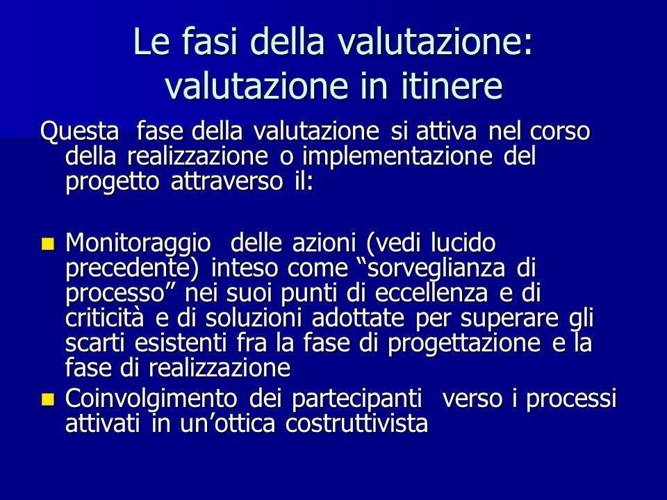 Le fasi della valutazione: valutazione in itinere