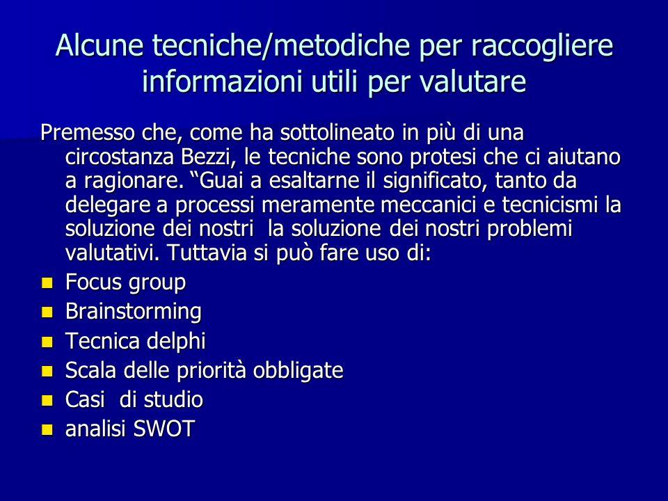 Alcune tecniche/metodiche per raccogliere informazioni utili per valutare