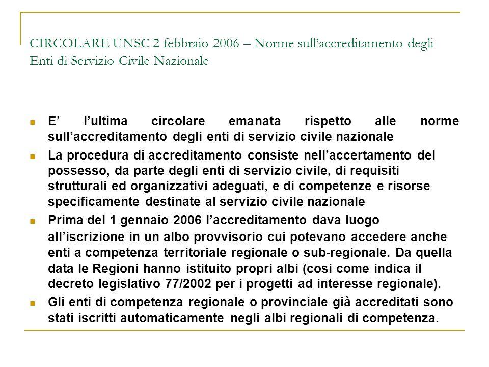 CIRCOLARE UNSC 2 febbraio 2006 – Norme sull'accreditamento degli Enti di Servizio Civile Nazionale