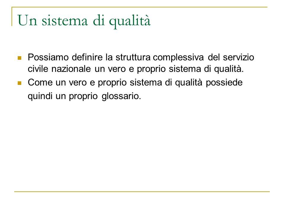 Un sistema di qualità Possiamo definire la struttura complessiva del servizio civile nazionale un vero e proprio sistema di qualità.