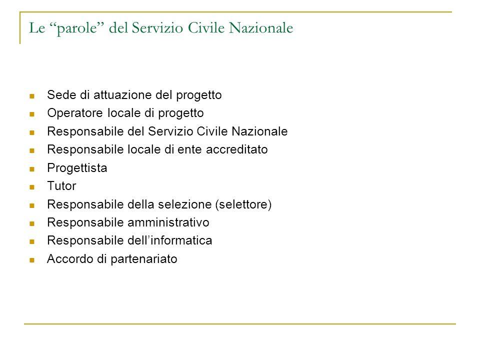 Le parole del Servizio Civile Nazionale