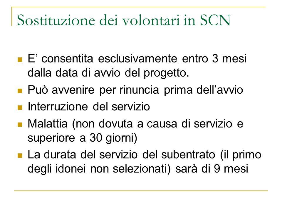 Sostituzione dei volontari in SCN