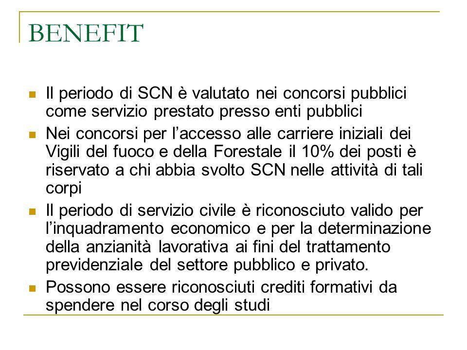 BENEFIT Il periodo di SCN è valutato nei concorsi pubblici come servizio prestato presso enti pubblici.