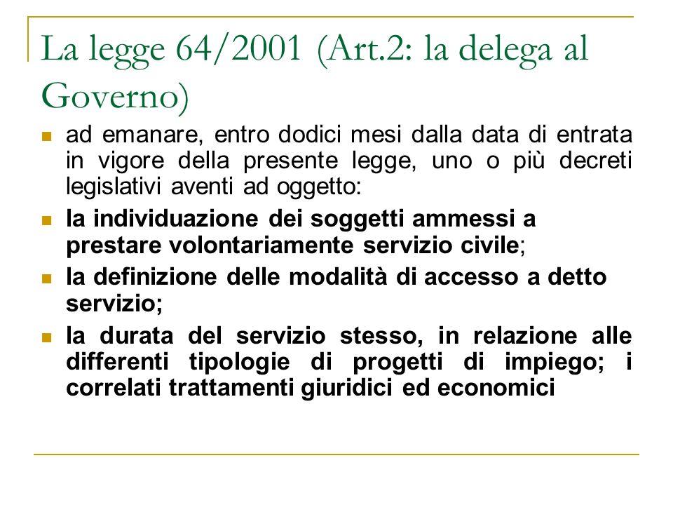 La legge 64/2001 (Art.2: la delega al Governo)