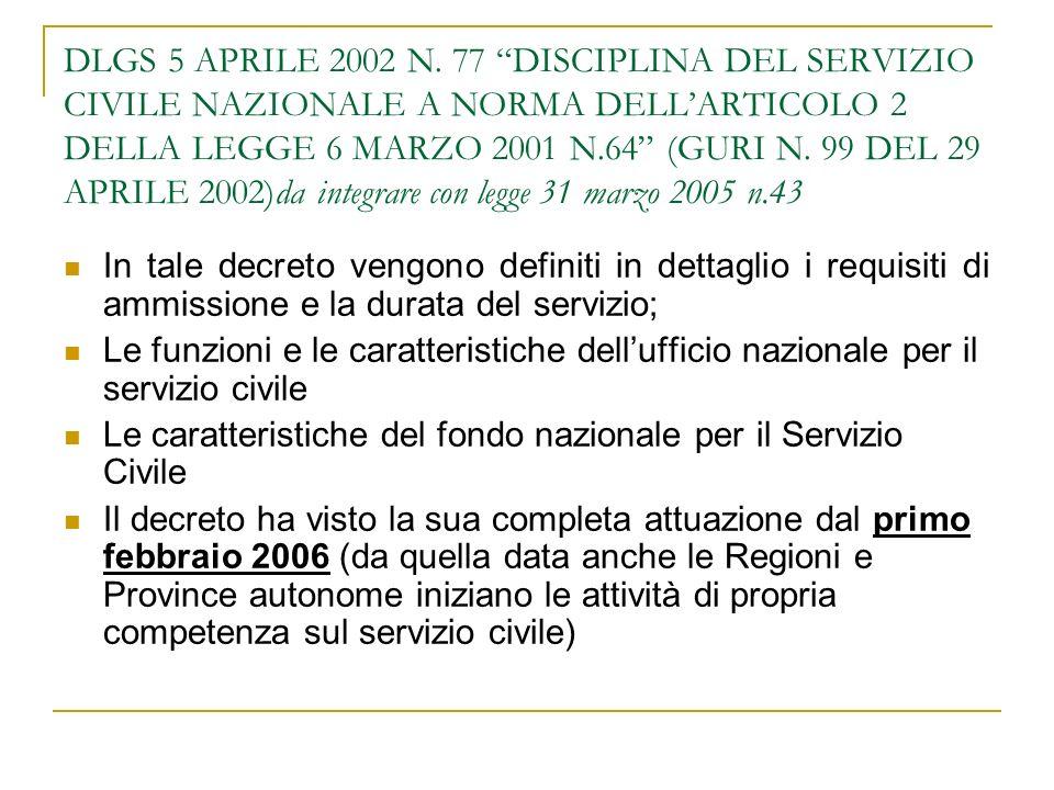 DLGS 5 APRILE 2002 N. 77 DISCIPLINA DEL SERVIZIO CIVILE NAZIONALE A NORMA DELL'ARTICOLO 2 DELLA LEGGE 6 MARZO 2001 N.64 (GURI N. 99 DEL 29 APRILE 2002)da integrare con legge 31 marzo 2005 n.43
