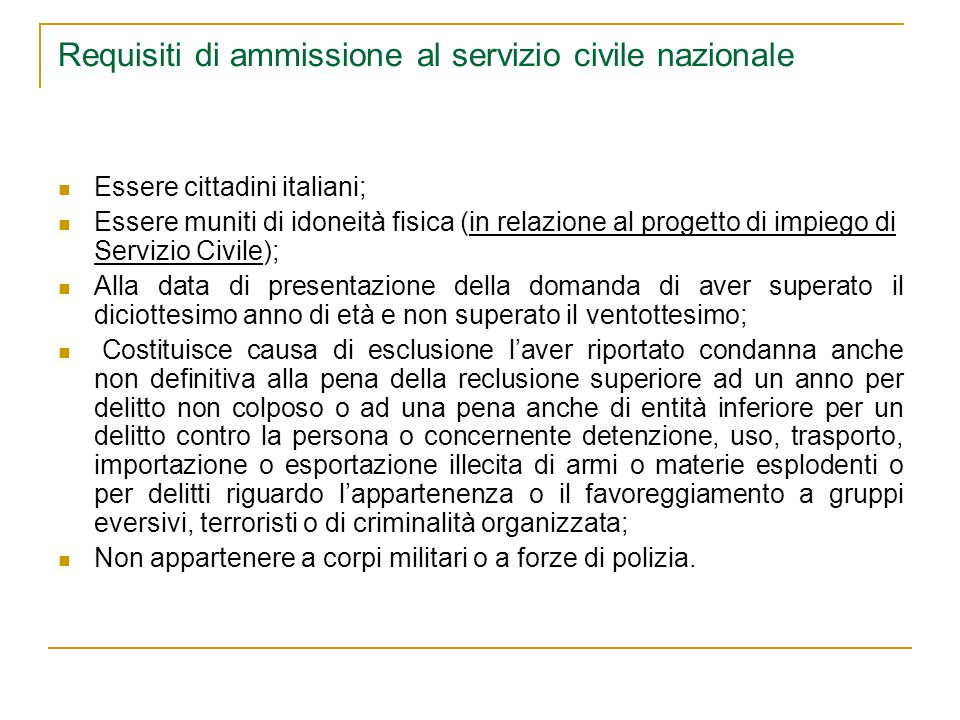Requisiti di ammissione al servizio civile nazionale