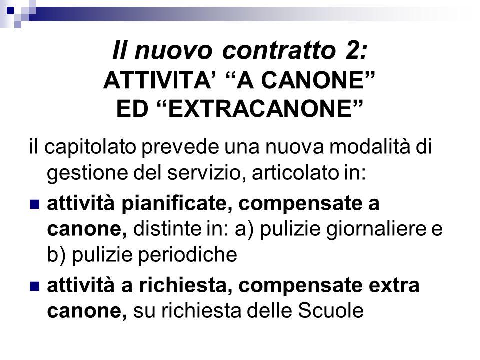 Il nuovo contratto 2: ATTIVITA' A CANONE ED EXTRACANONE