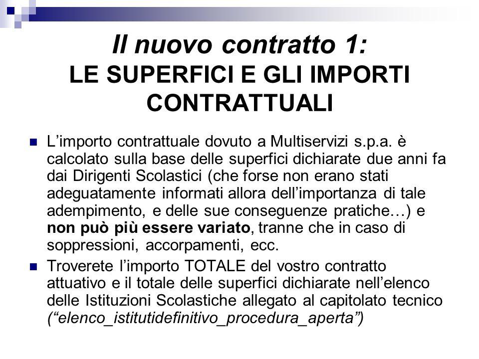 Il nuovo contratto 1: LE SUPERFICI E GLI IMPORTI CONTRATTUALI