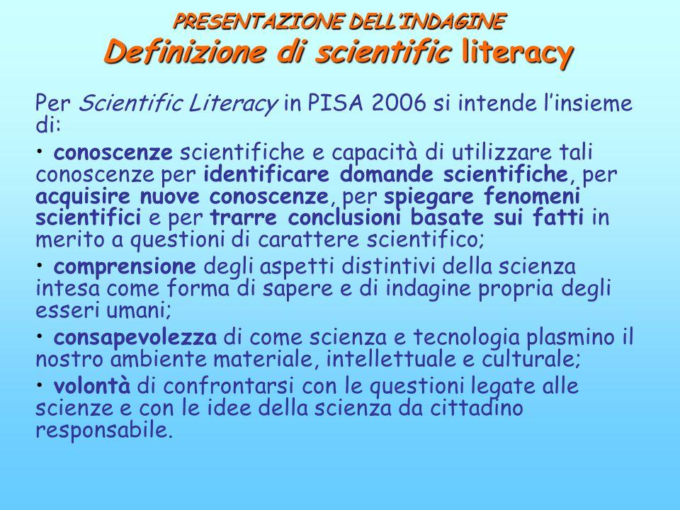 PRESENTAZIONE DELL'INDAGINE Definizione di scientific literacy