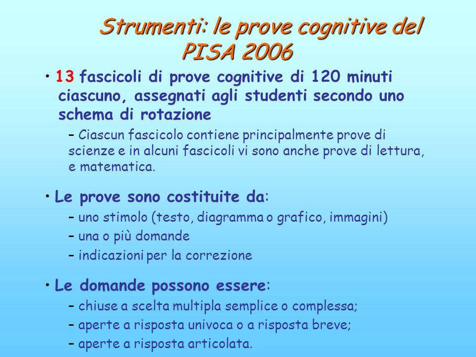 Strumenti: le prove cognitive del PISA 2006