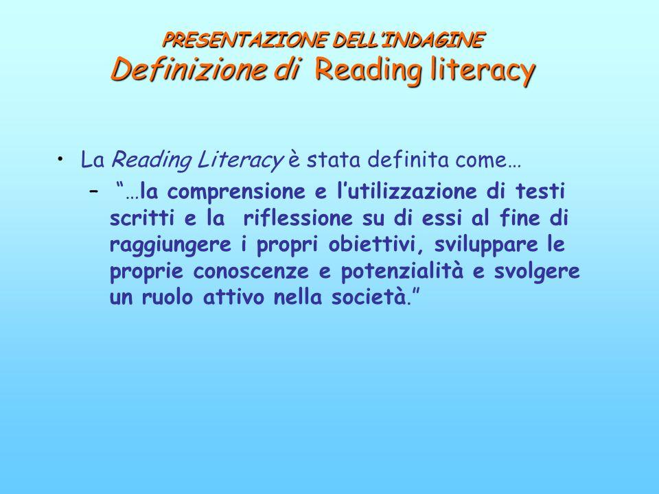 PRESENTAZIONE DELL'INDAGINE Definizione di Reading literacy