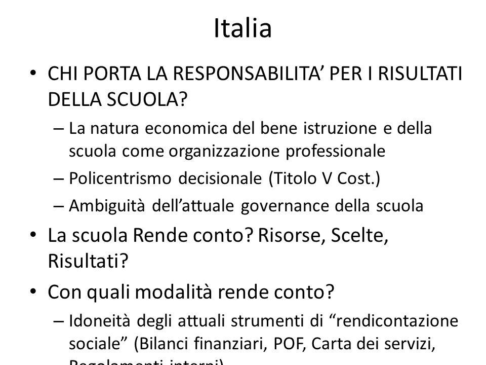 Italia CHI PORTA LA RESPONSABILITA' PER I RISULTATI DELLA SCUOLA