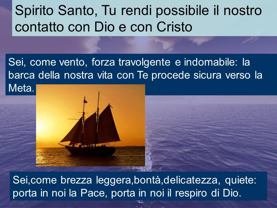 Spirito Santo, Tu rendi possibile il nostro contatto con Dio e con Cristo