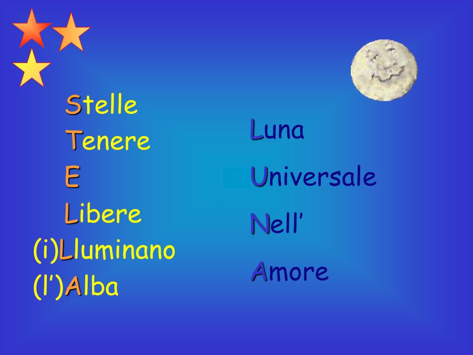 Stelle Tenere E Libere (i)Lluminano (l')Alba Luna Universale Nell' Amore