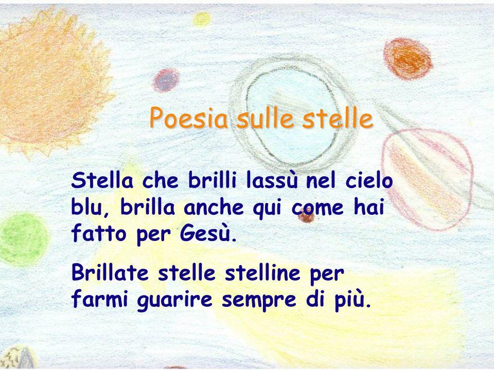 Poesia sulle stelle Stella che brilli lassù nel cielo blu, brilla anche qui come hai fatto per Gesù.
