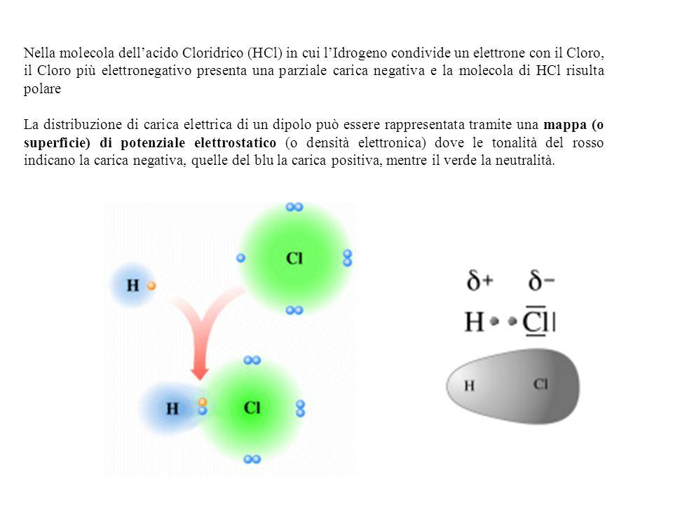 Nella molecola dell'acido Cloridrico (HCl) in cui l'Idrogeno condivide un elettrone con il Cloro, il Cloro più elettronegativo presenta una parziale carica negativa e la molecola di HCl risulta polare