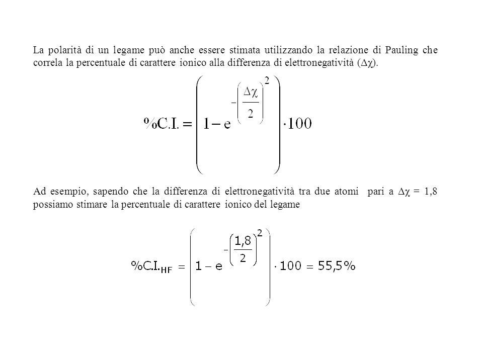 La polarità di un legame può anche essere stimata utilizzando la relazione di Pauling che correla la percentuale di carattere ionico alla differenza di elettronegatività (Δχ).