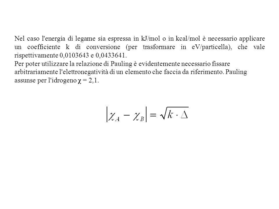 Nel caso l energia di legame sia espressa in kJ/mol o in kcal/mol è necessario applicare un coefficiente k di conversione (per trasformare in eV/particella), che vale rispettivamente 0,0103643 e 0,0433641.