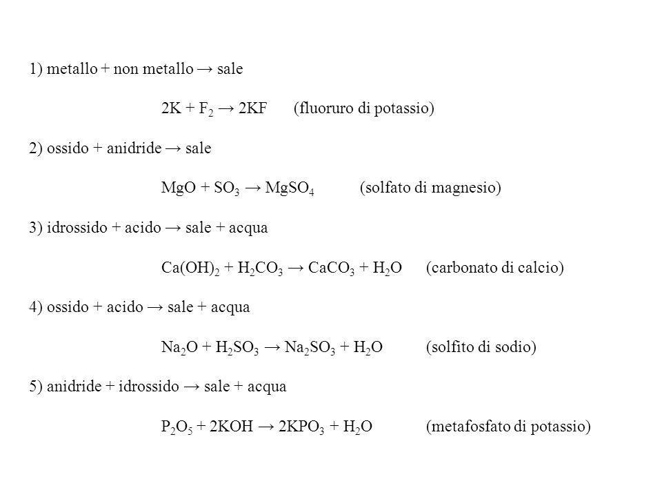 1) metallo + non metallo → sale 2K + F2 → 2KF (fluoruro di potassio)