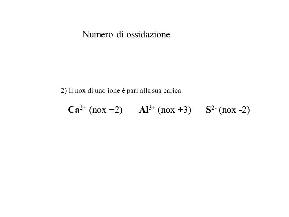 Numero di ossidazione 2) Il nox di uno ione è pari alla sua carica