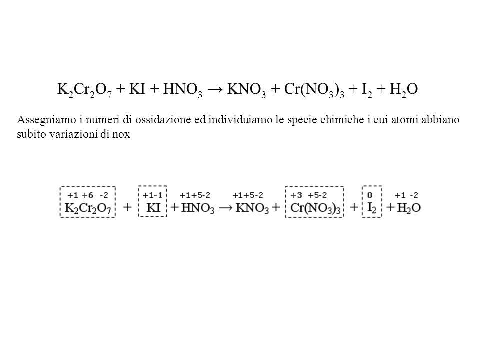 K2Cr2O7 + KI + HNO3 → KNO3 + Cr(NO3)3 + I2 + H2O