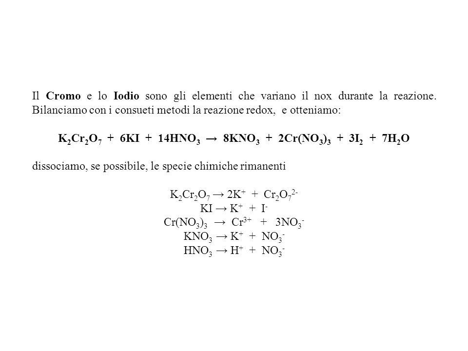 K2Cr2O7 + 6KI + 14HNO3 → 8KNO3 + 2Cr(NO3)3 + 3I2 + 7H2O