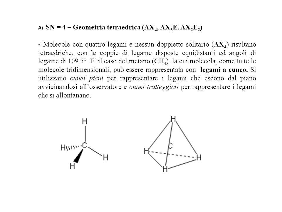 A) SN = 4 – Geometria tetraedrica (AX4, AX3E, AX2E2)