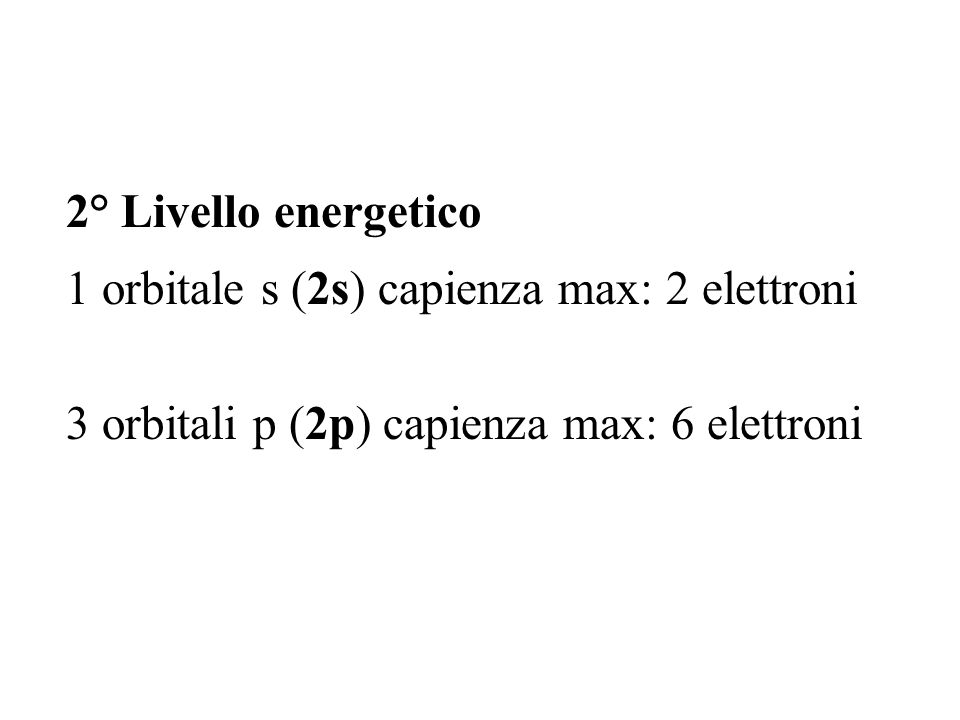 2° Livello energetico 1 orbitale s (2s) capienza max: 2 elettroni.