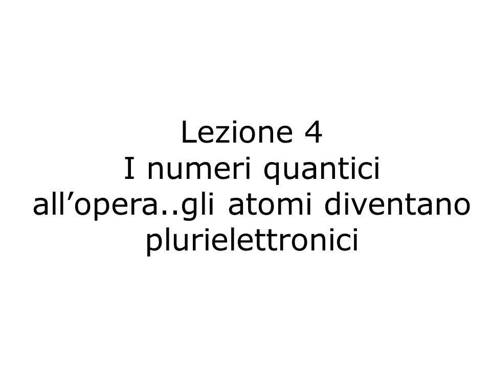 I numeri quantici all'opera..gli atomi diventano plurielettronici