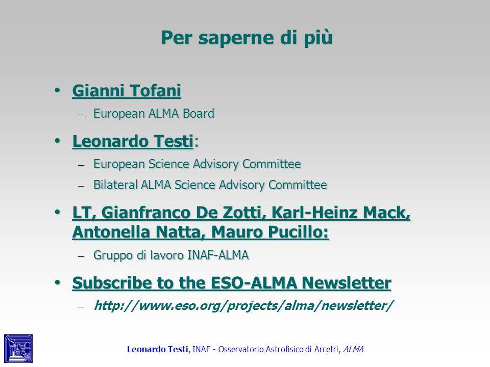 Per saperne di più Gianni Tofani Leonardo Testi: