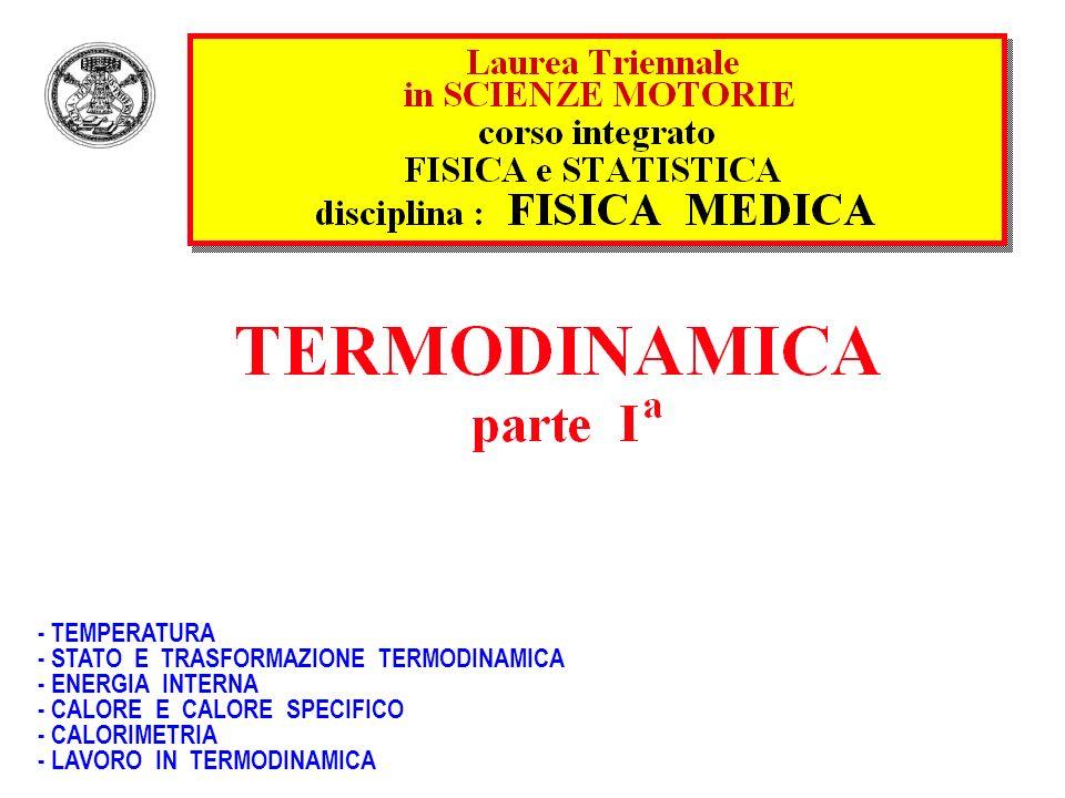 - TEMPERATURA - STATO E TRASFORMAZIONE TERMODINAMICA. - ENERGIA INTERNA. - CALORE E CALORE SPECIFICO.