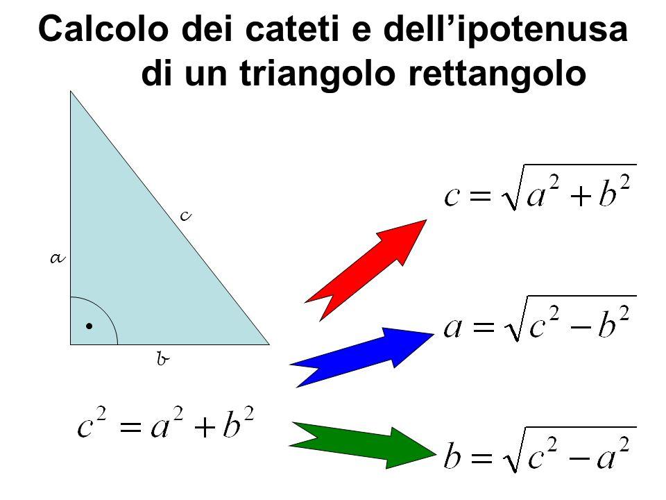 Calcolo dei cateti e dell'ipotenusa di un triangolo rettangolo